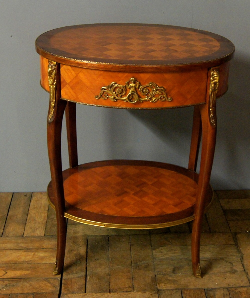 a lovely elegant parquetry topped french side table