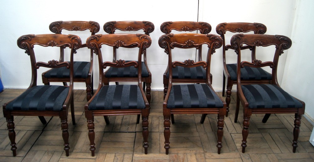 an impressive set of 8 william iv mahogany dining chairs