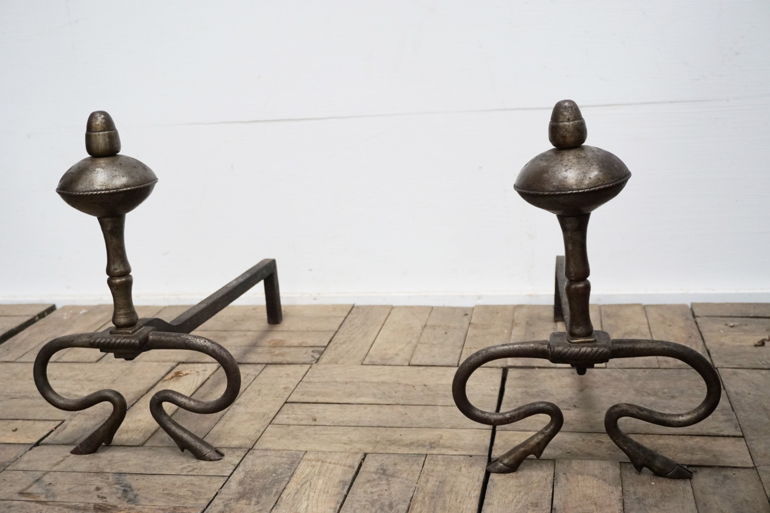 pair of good french victorian steel andirons