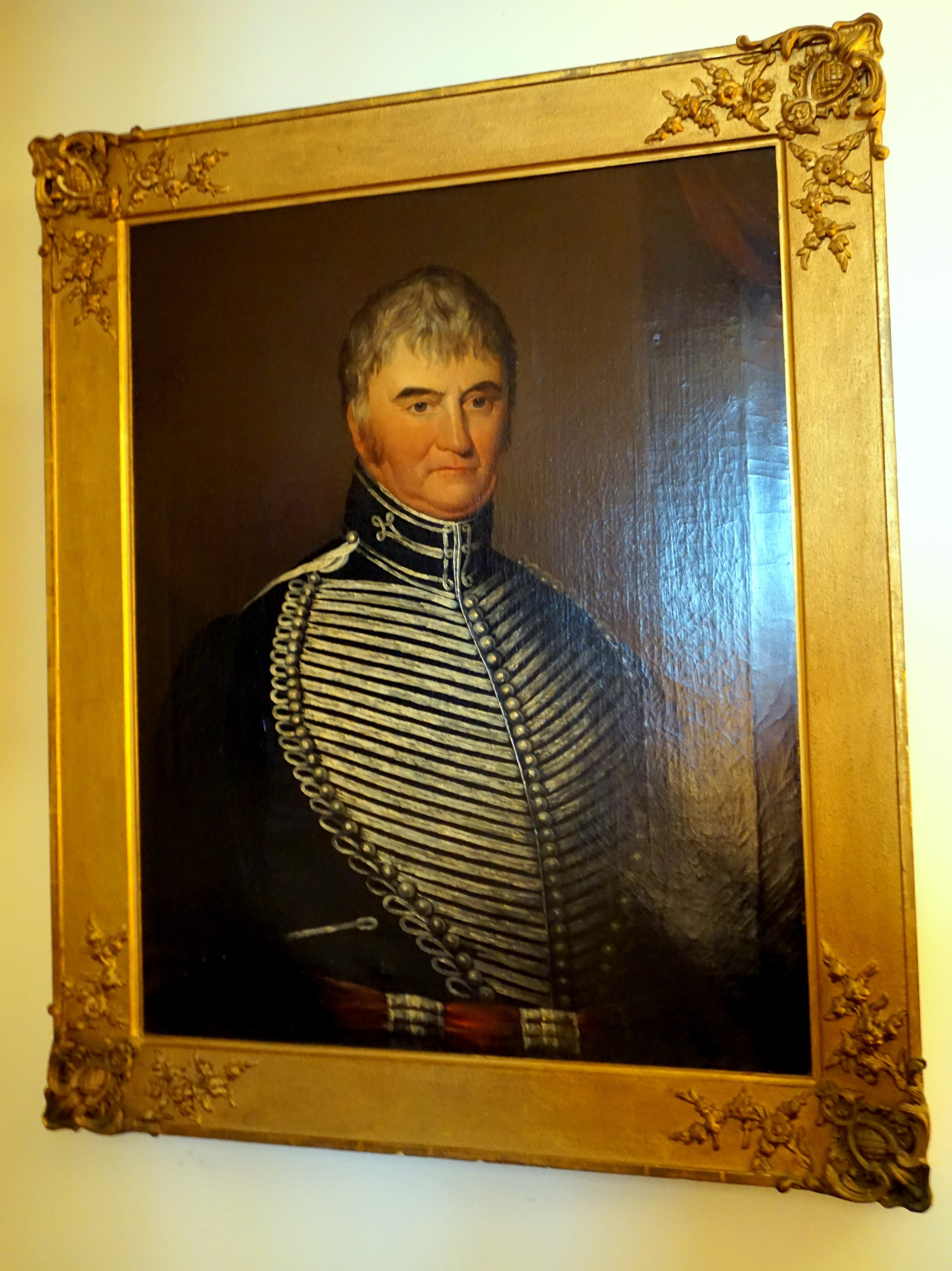 an early 19th century portrait on oil of a military gentleman 'captain cuttle'