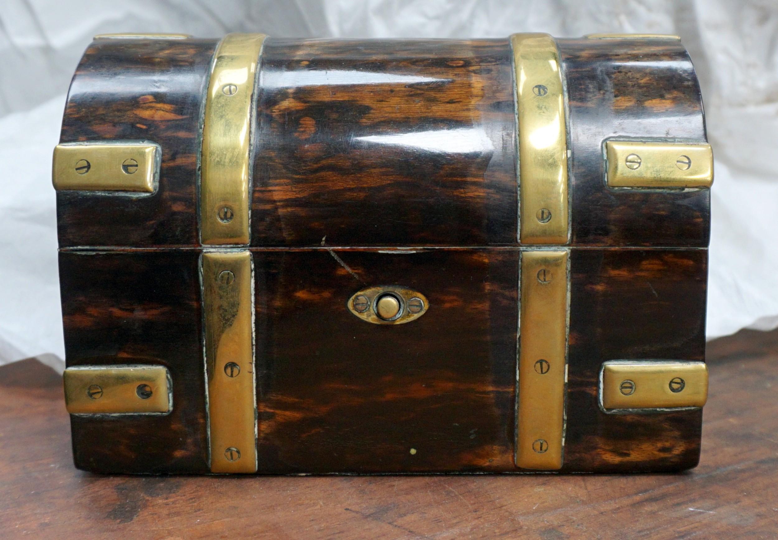 a charming brass bound coromandel victorian casket