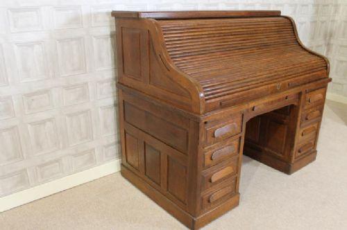 Edwardian Solid Oak Directors Roll Top Desk 245271