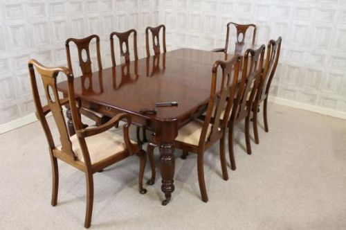 Edwardian Extending Dining Table And Set Of Eight Queen Anne Style Chairs