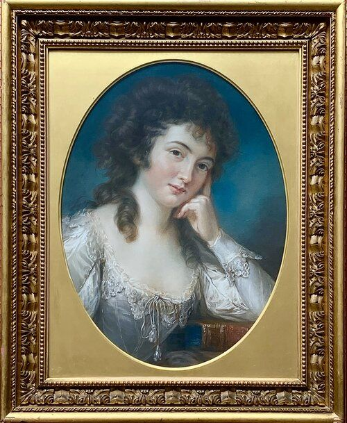 pastel portrait of miss mary linwood with a book entitled da vinci on painting by john russell ra