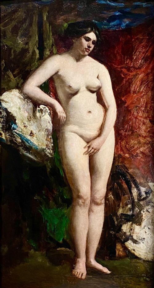 a standing female nude with drapery oil on panel by william etty ra