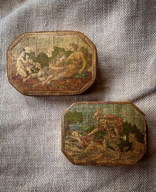 a fine pair of georgian straw work snuff boxes