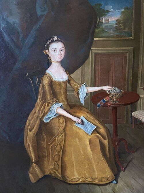 18th century english portrait of an elegant young lady circle of arthur devis 17121787