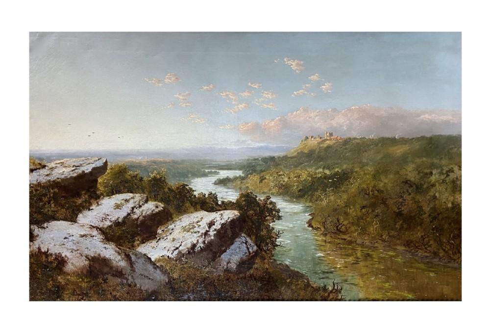 19th century landscape painting of richmond yorkshire 2 by edmund john neimann