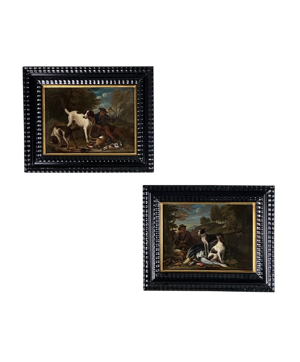 a fine pair of late 17th century sporting still lifes by adriaen de greyf 16701715