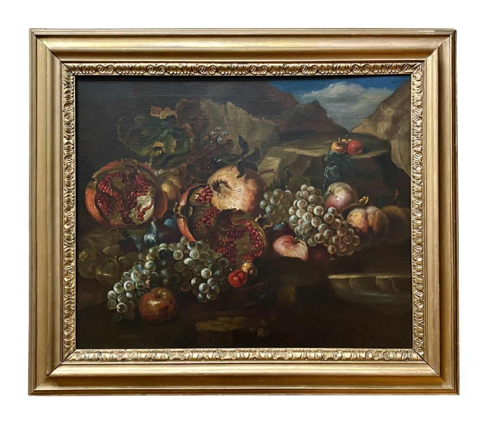 an early 18th century roman still life oil painting of pomegrantes grapes figs and a lizard circle of maximilian pfeiler 16561746