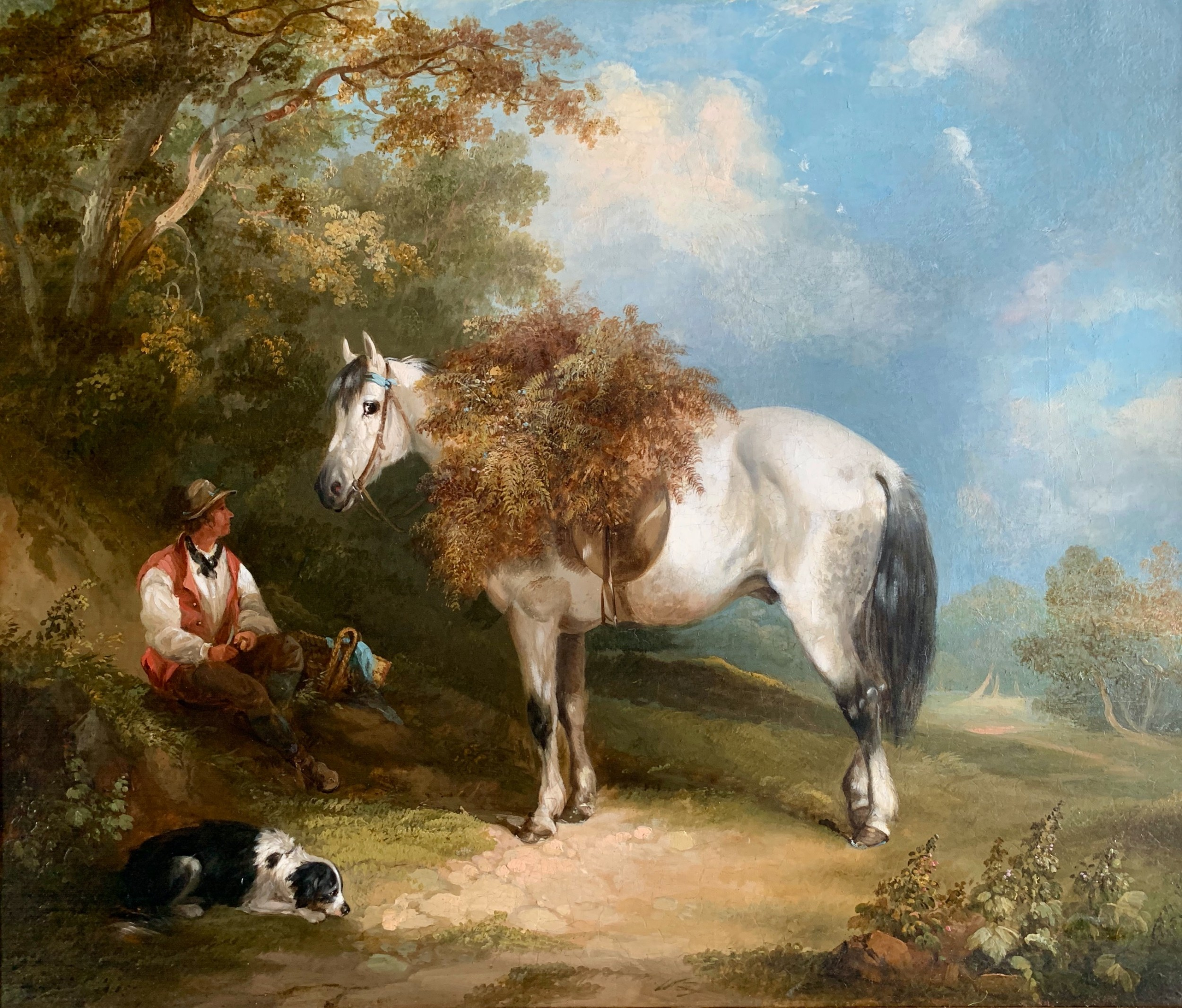 19th century horse oil painting the fern gatherer by william shayer senior 17871879