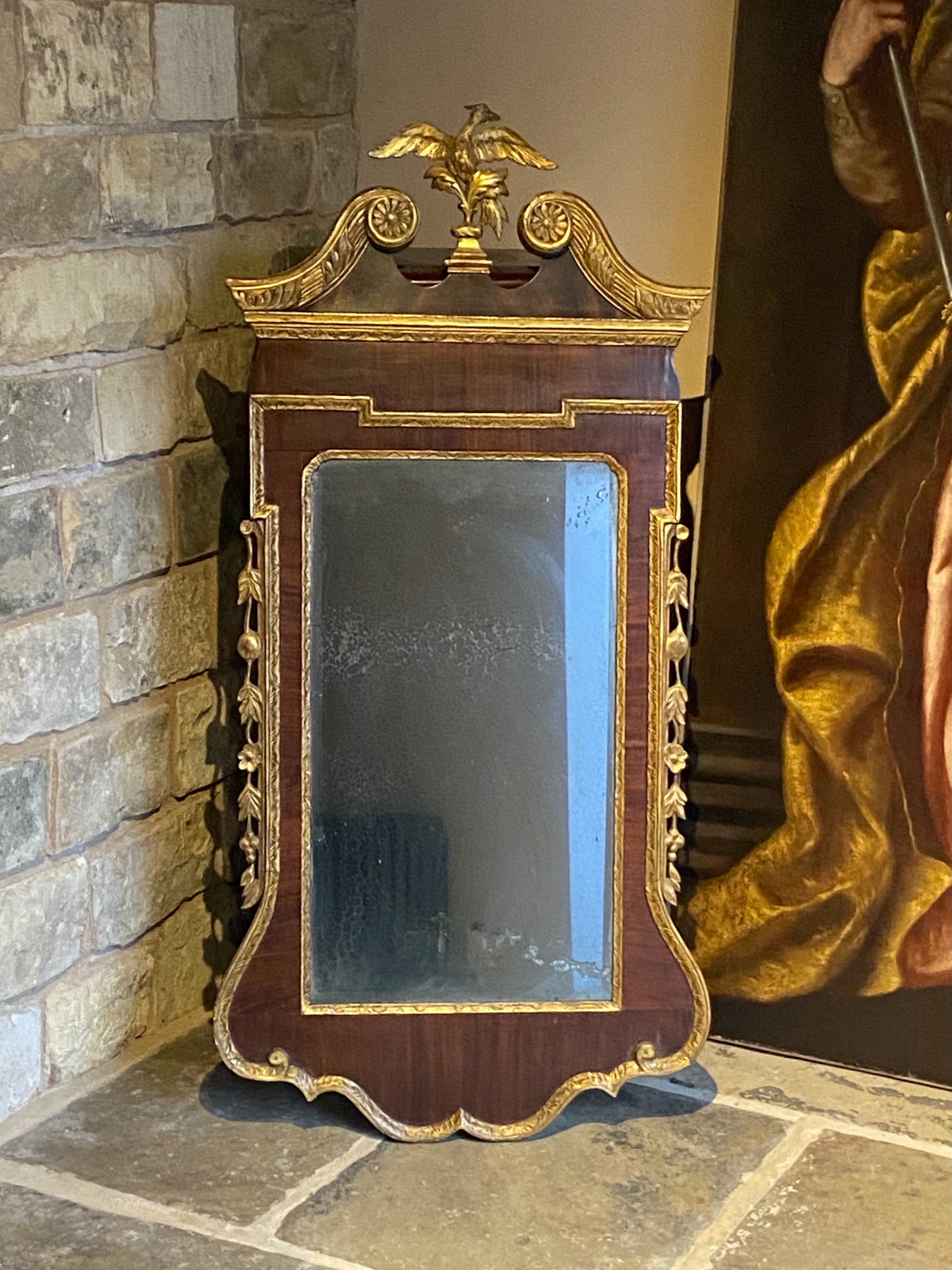 late 18th century english chippendale carved mahogany and parcel gilt mirror