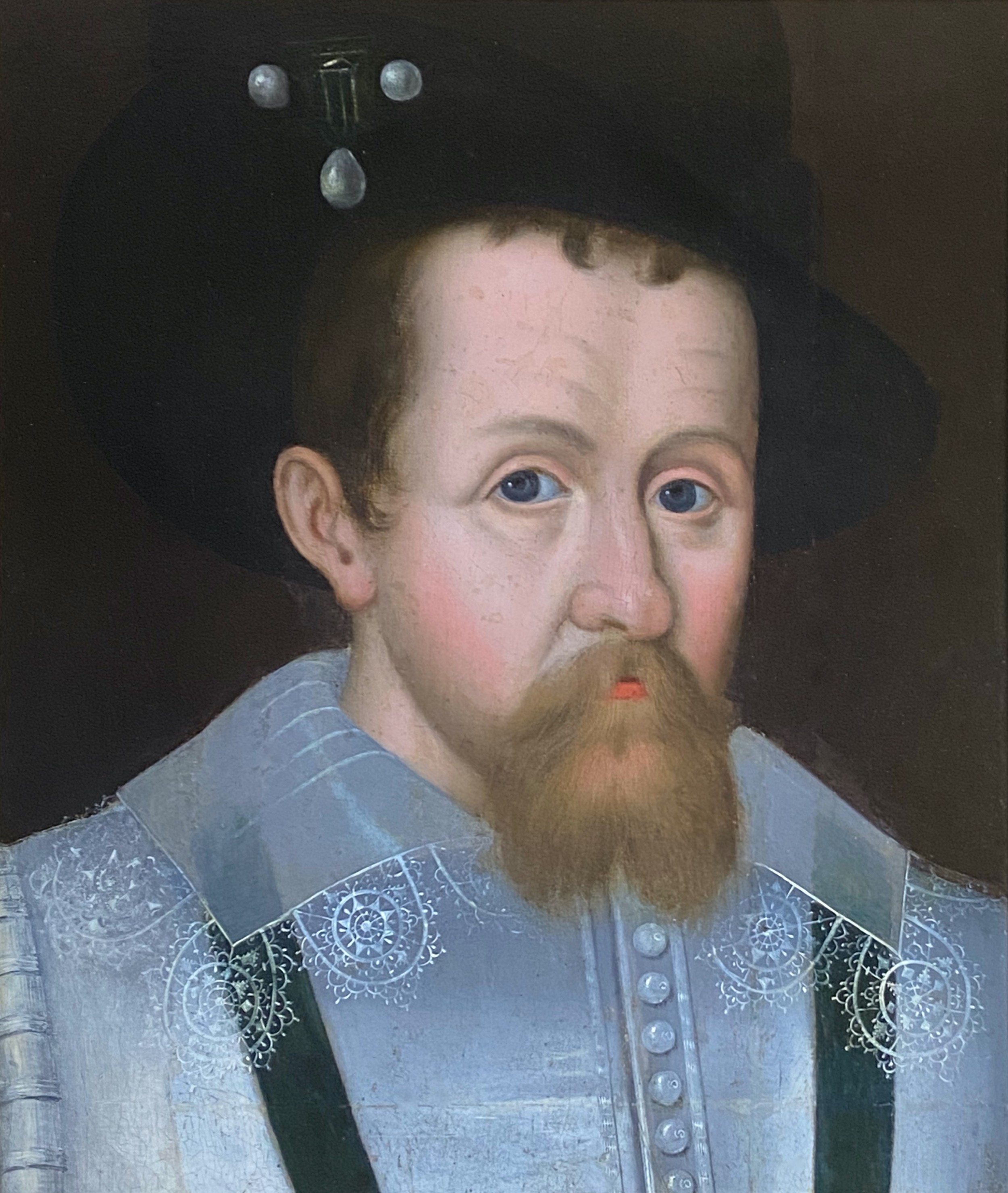 17th century oil on panel portrait of james 1 of england and james vi of scotland manner of john de critz