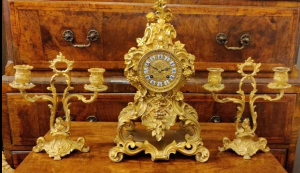 gilt bronze french rococo clock garniture