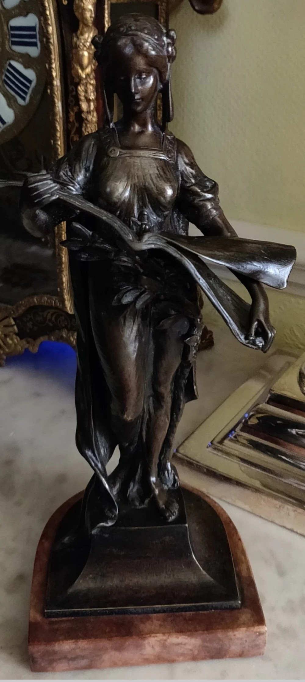 patinated and signed bronze female figure by andor ruff