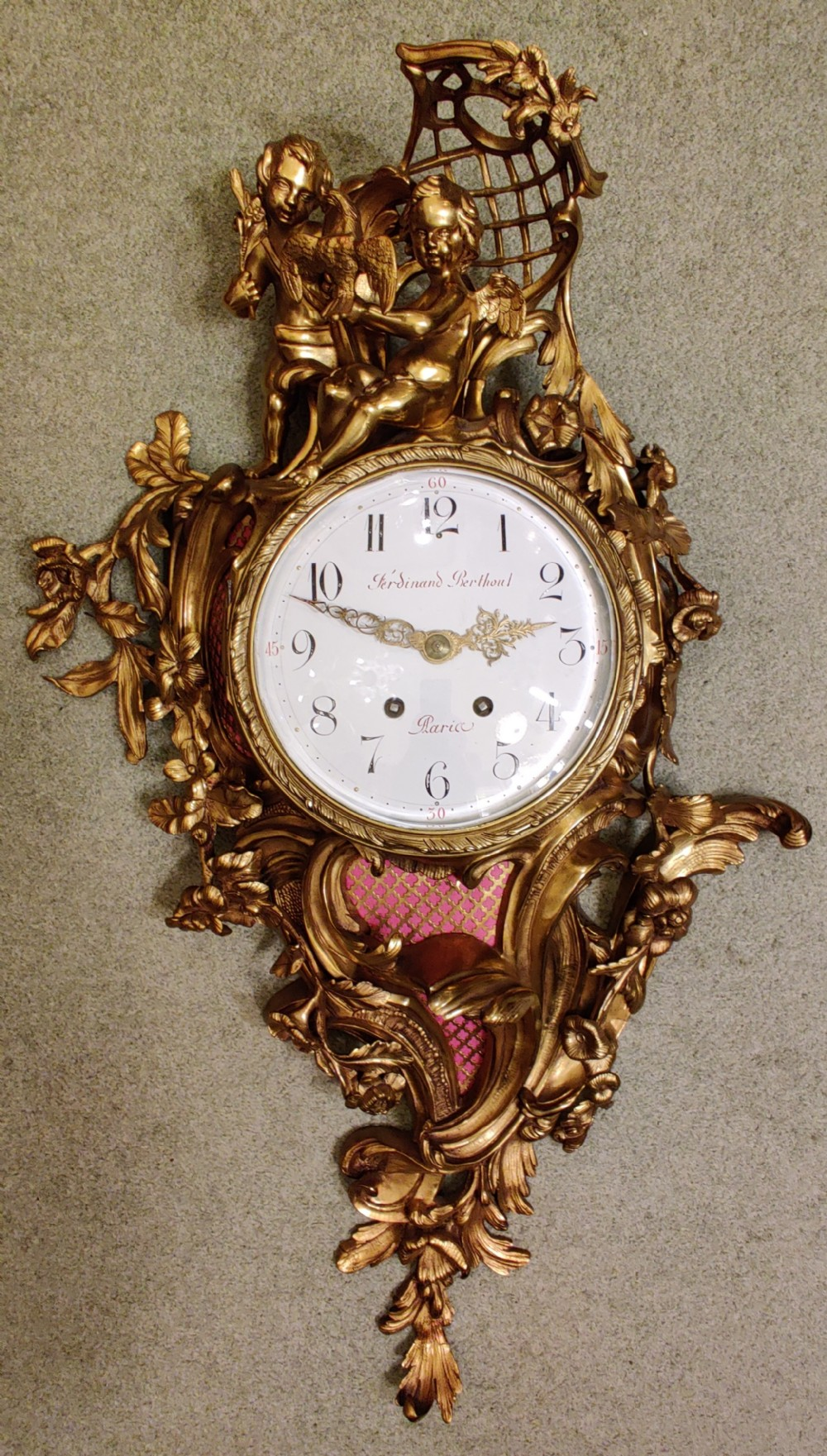 large 19th century gilt bronze french rococo cartel wall clock