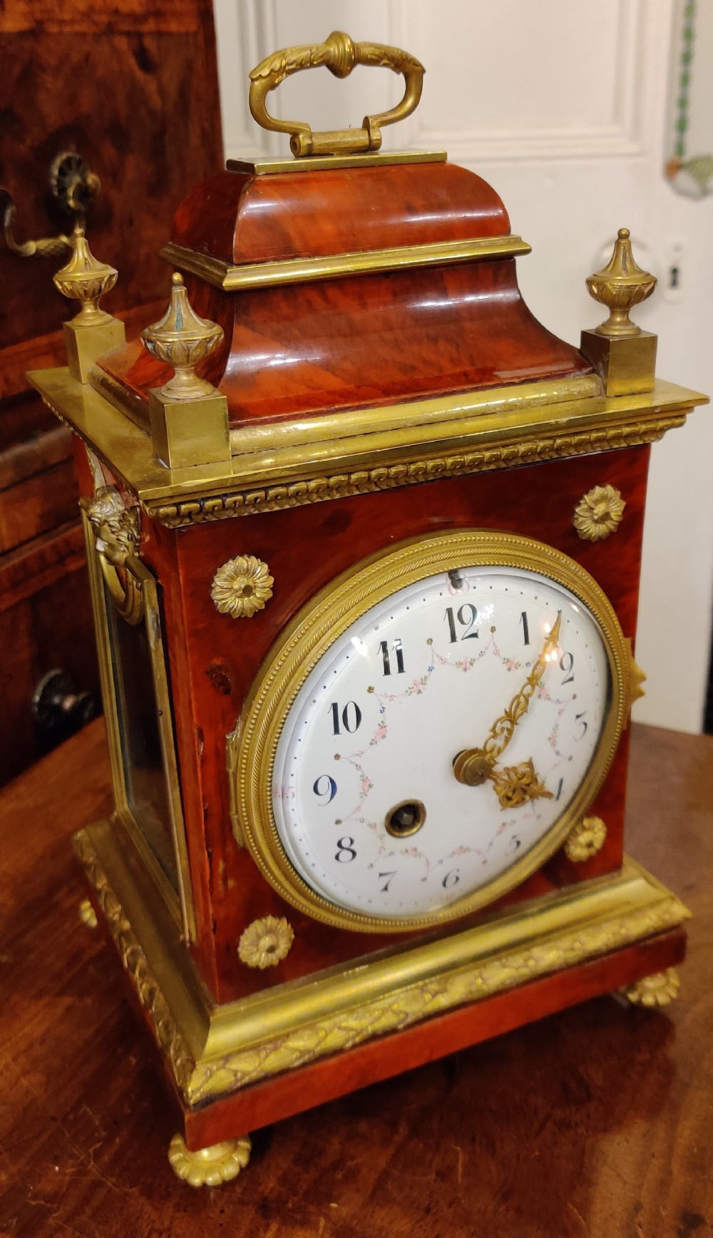 19th century french tortoiseshell and gilt bronze mounted mantel clock