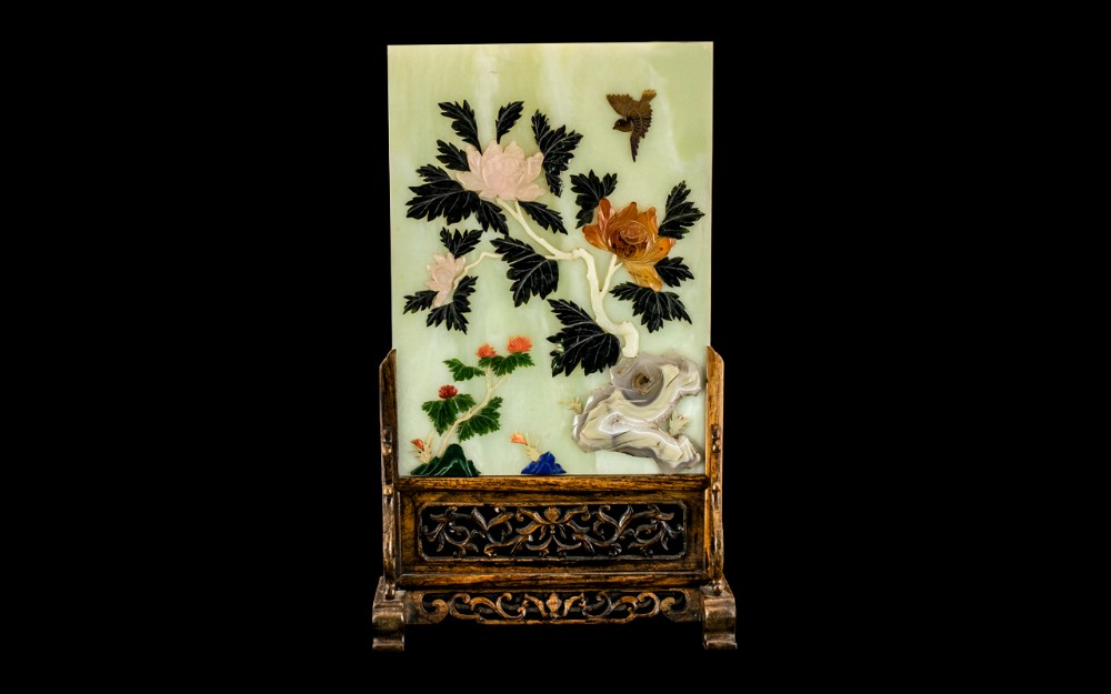 large chinese antique jade screen of fine quality