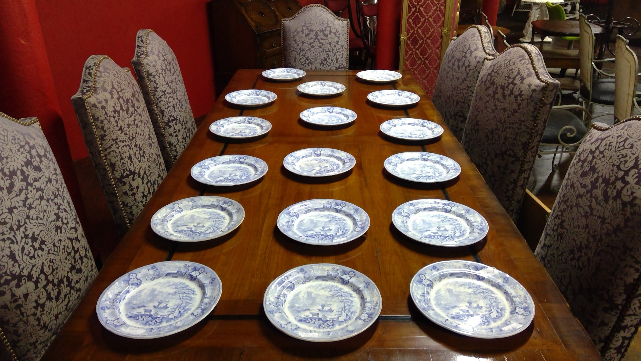 set of 17 staffordshire pottery antique light blue and white transfer printed dinner plates
