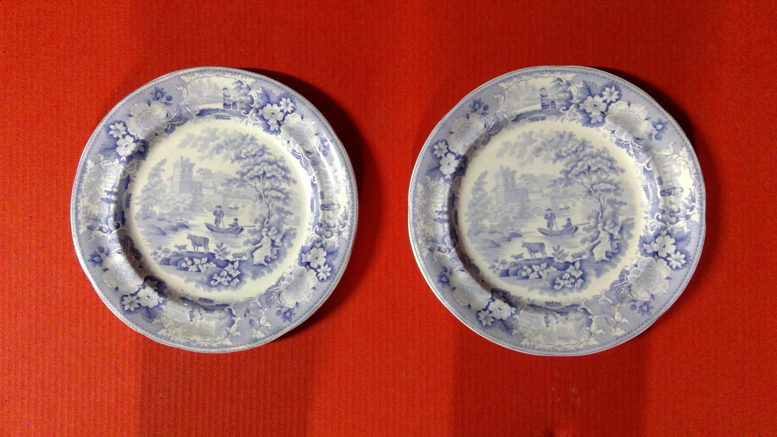 italian scenery set of 17 antique staffordshire pottery light blue and white transfer printed dinner platescirca1830s