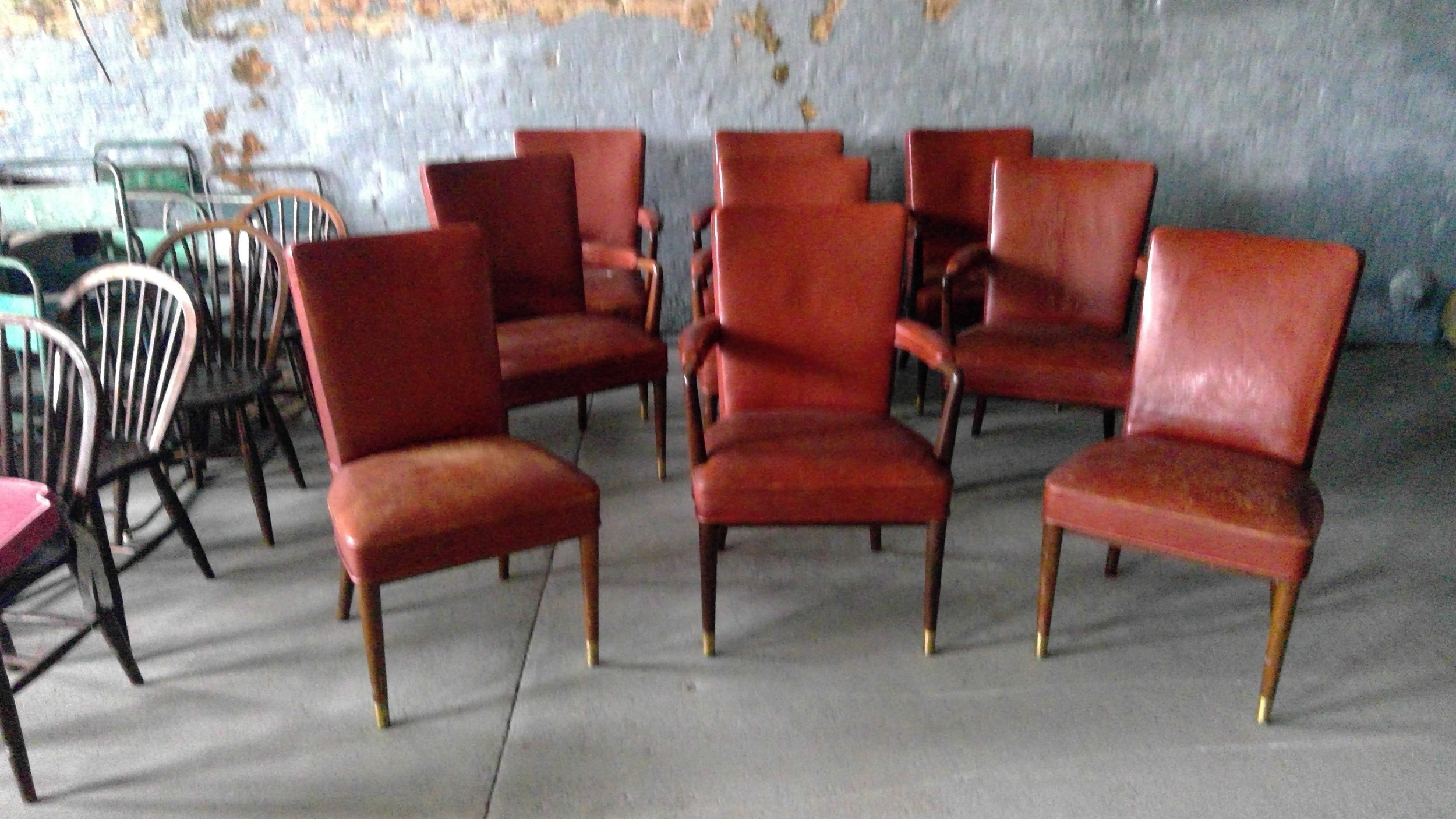 maple and company art deco period designer leather desk armchairs