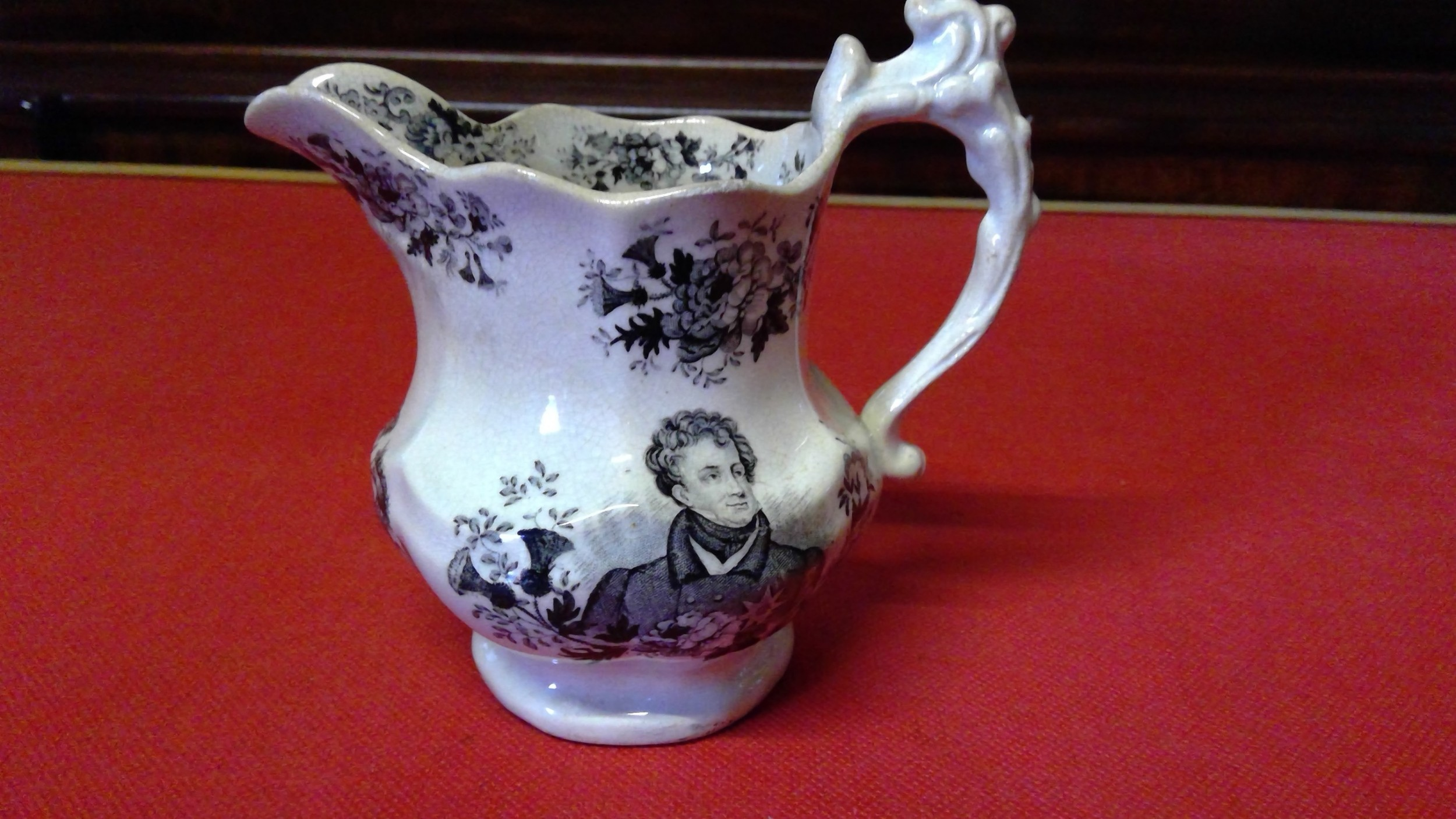 george 1v memorial morti black transfer printed jug by goodwinbridwood and harris pottery factory staffordshirecirca1830