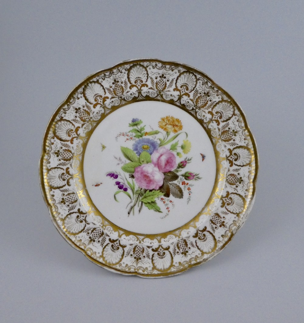 nantgarw porcelain dish flowers and insects c 1815