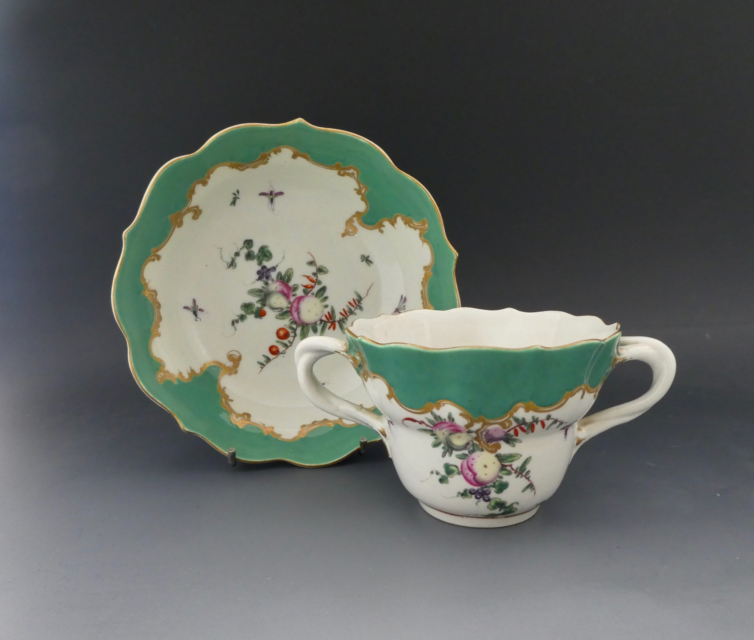 worcester porcelain chocolate cup and saucer c1770