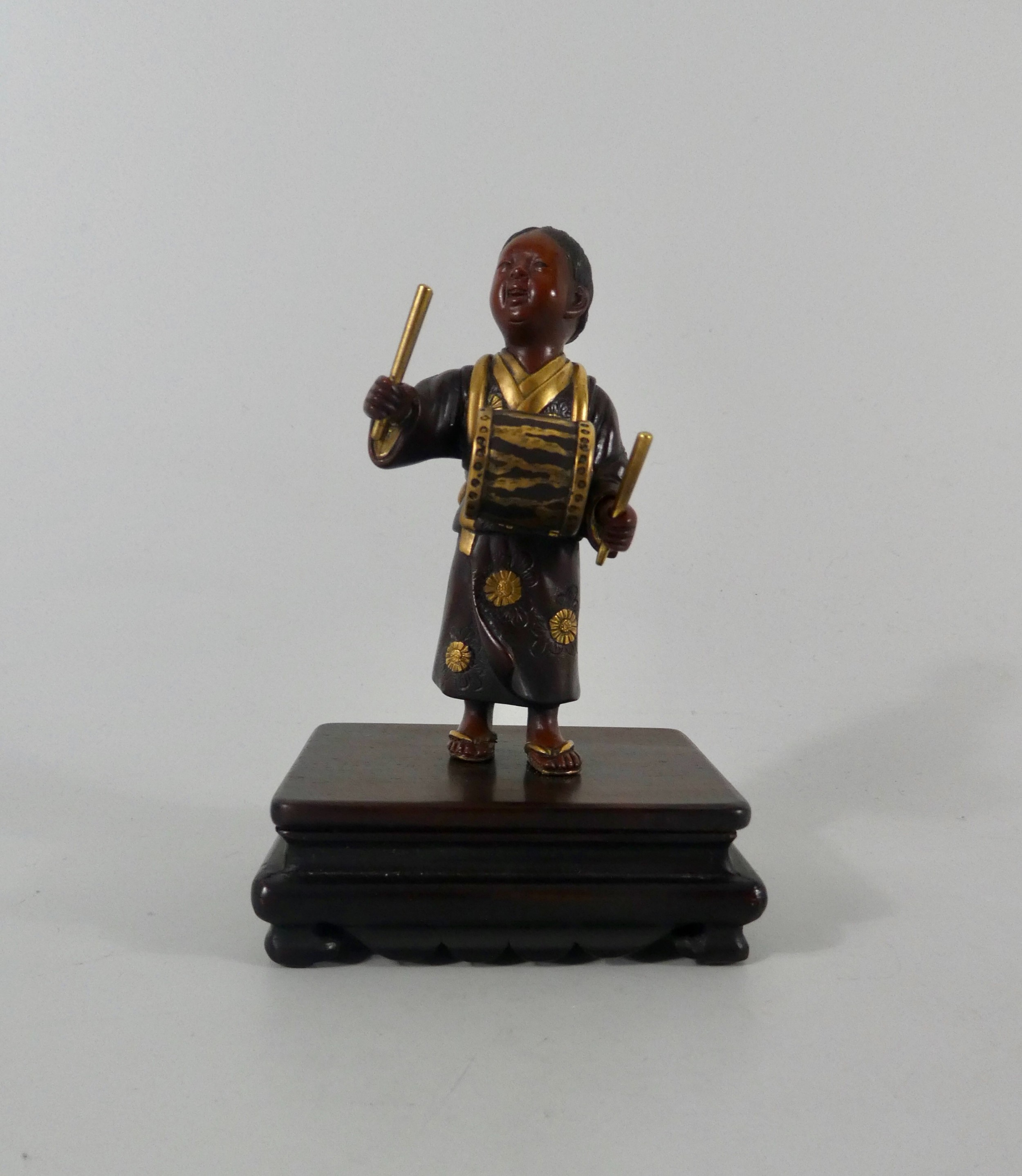 japanese bronze okimono of a boy meiji period