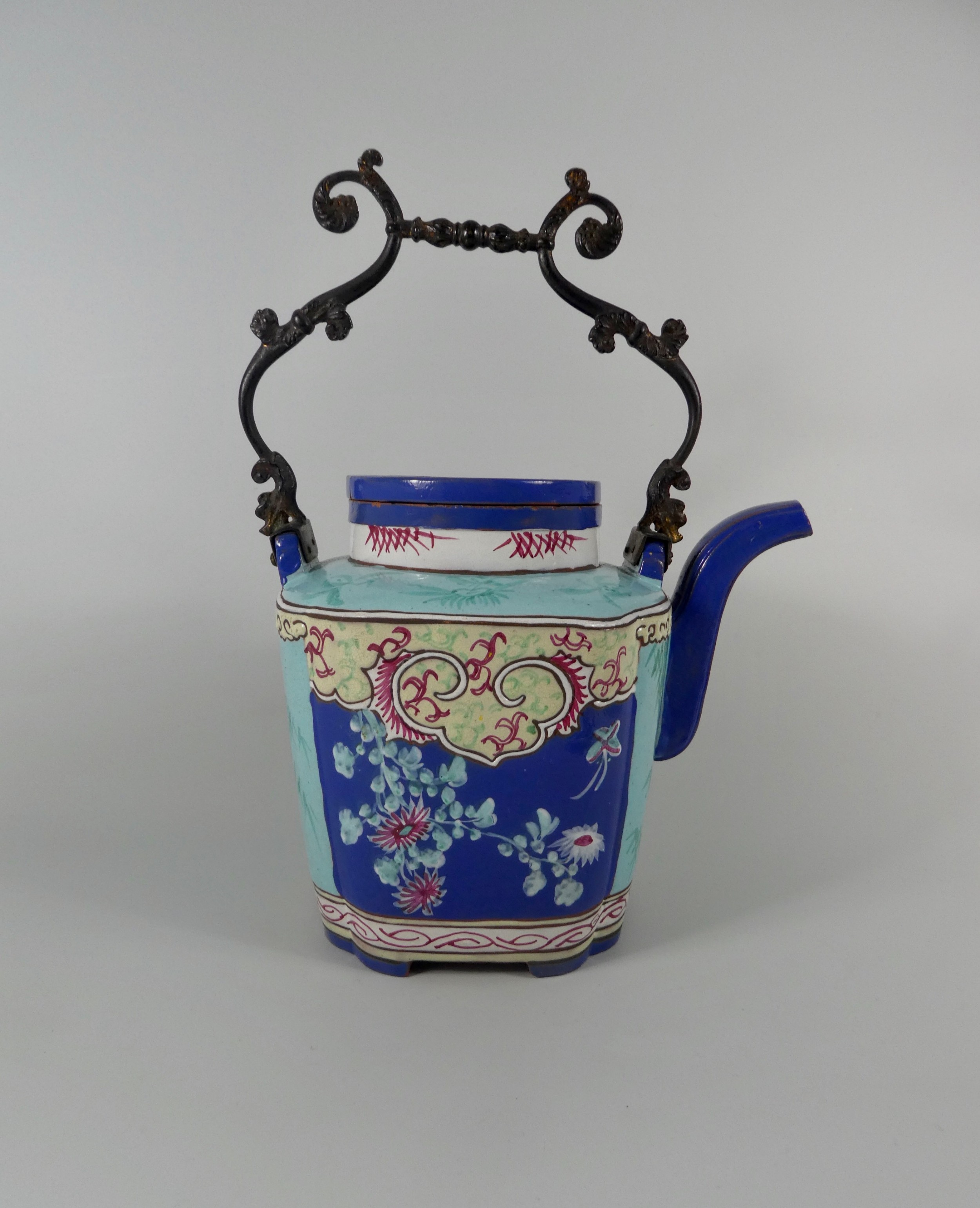chinese yixing enamelled teapot c1850 qing dynasty