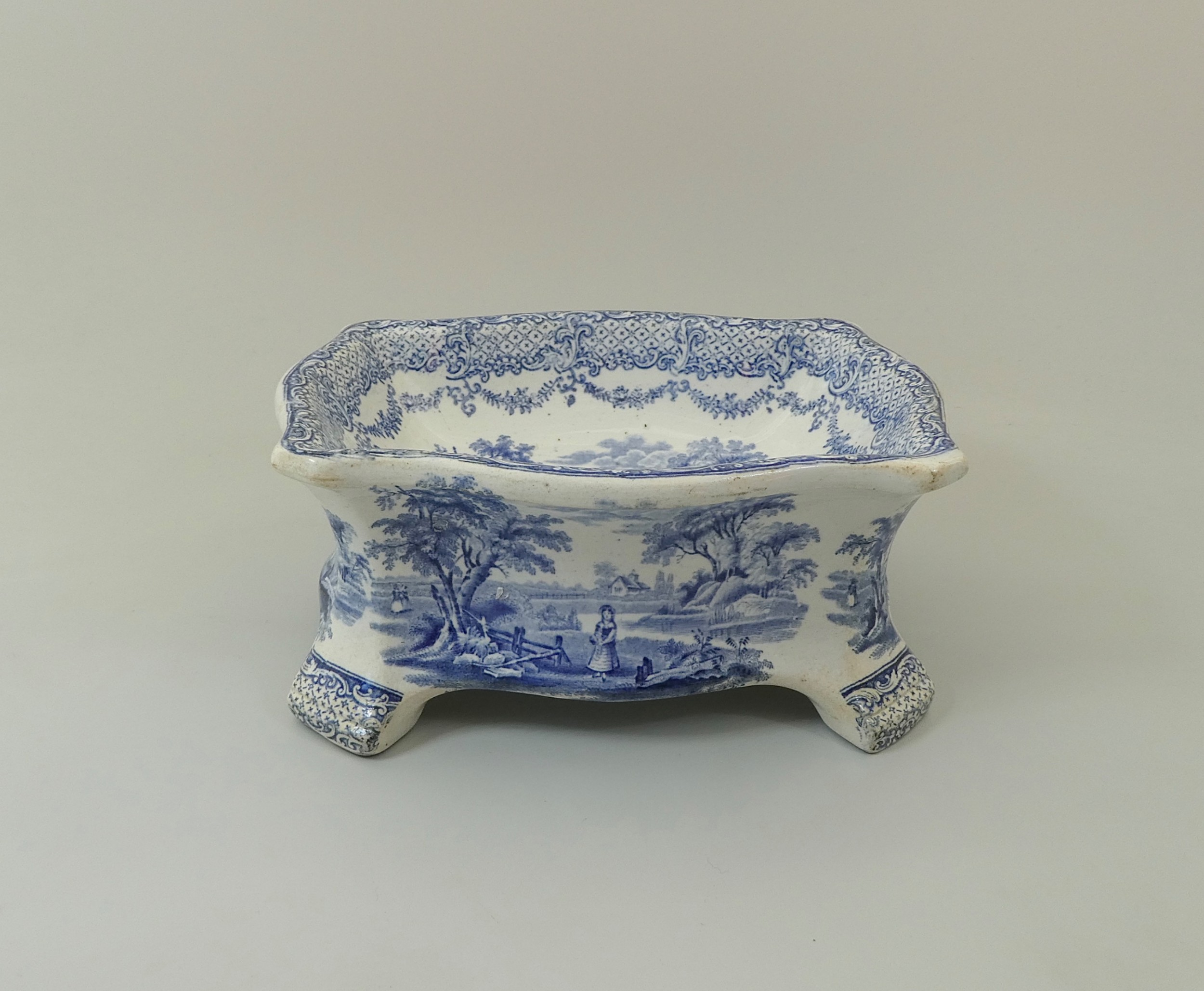 rare ridgway blue white dog bowl c 1840