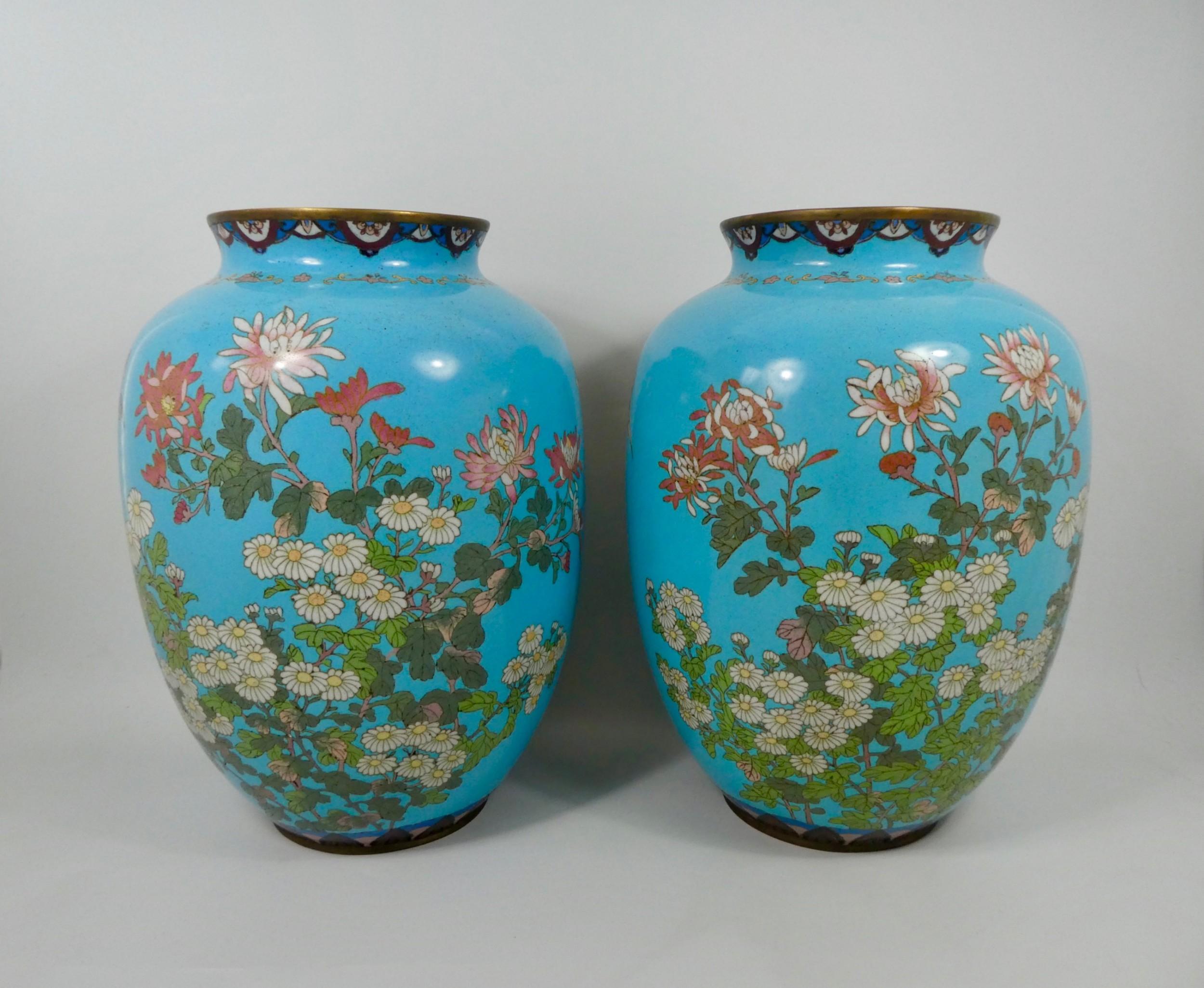 pair of large japanese cloisonne vases meiji period