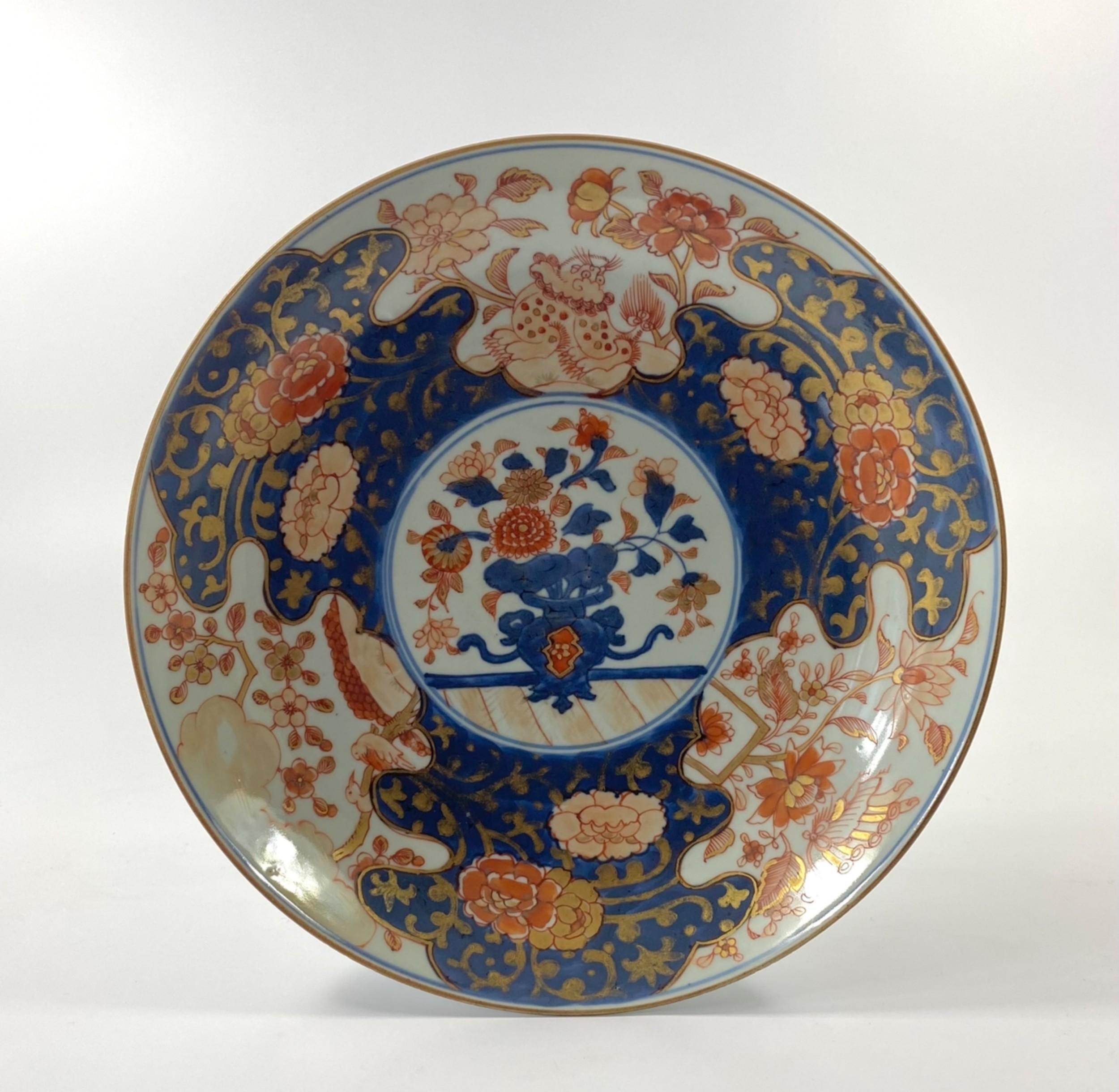 chinese imari large porcelain saucer dish c 1720
