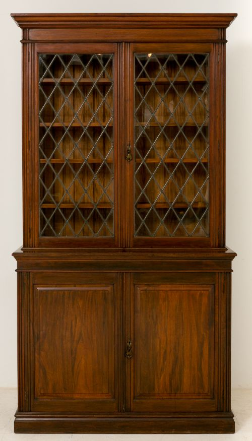 late victorian walnut 2 door bookcase