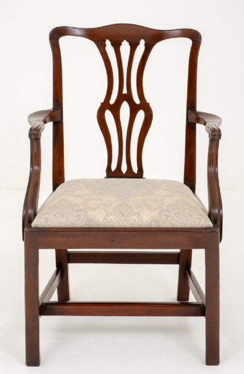 georgian style mahogany open elbow chair