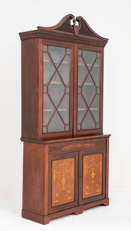 mahogany sheraton revival 2 door inlaid bookcase