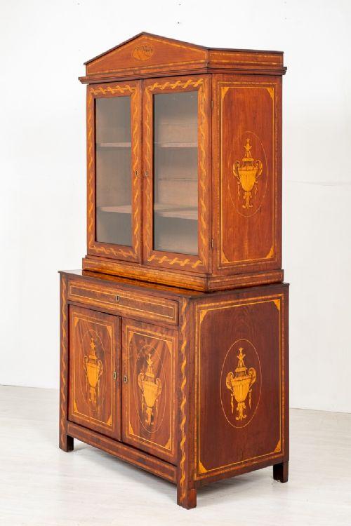 superb dutch mahogany inlaid bookcase