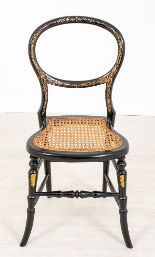 pretty victorian ebonised and inlaid bedroom chair