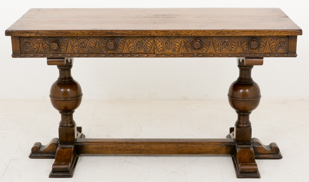 jacobean style carved oak 2 drawer side table