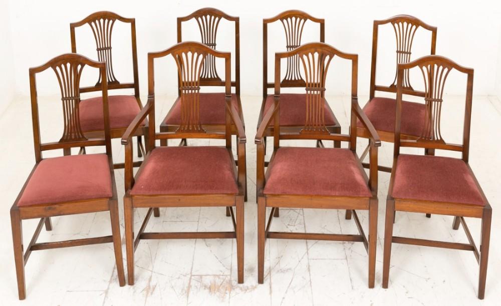 set of 8 62 mahogany hepplewhite style chairs