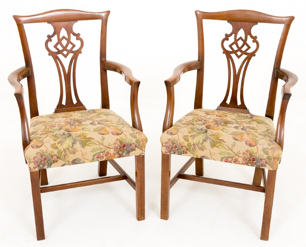 pair of mahogany chippendale style armchairs