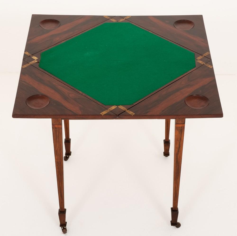 sheraton revival rosewood envelope card table
