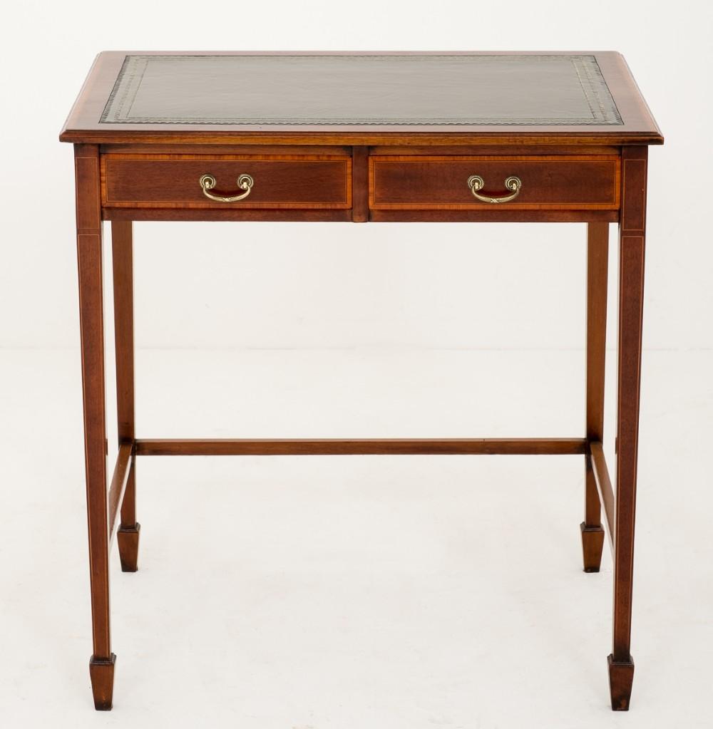 mahogany sheraton revival 2 drawer writing table