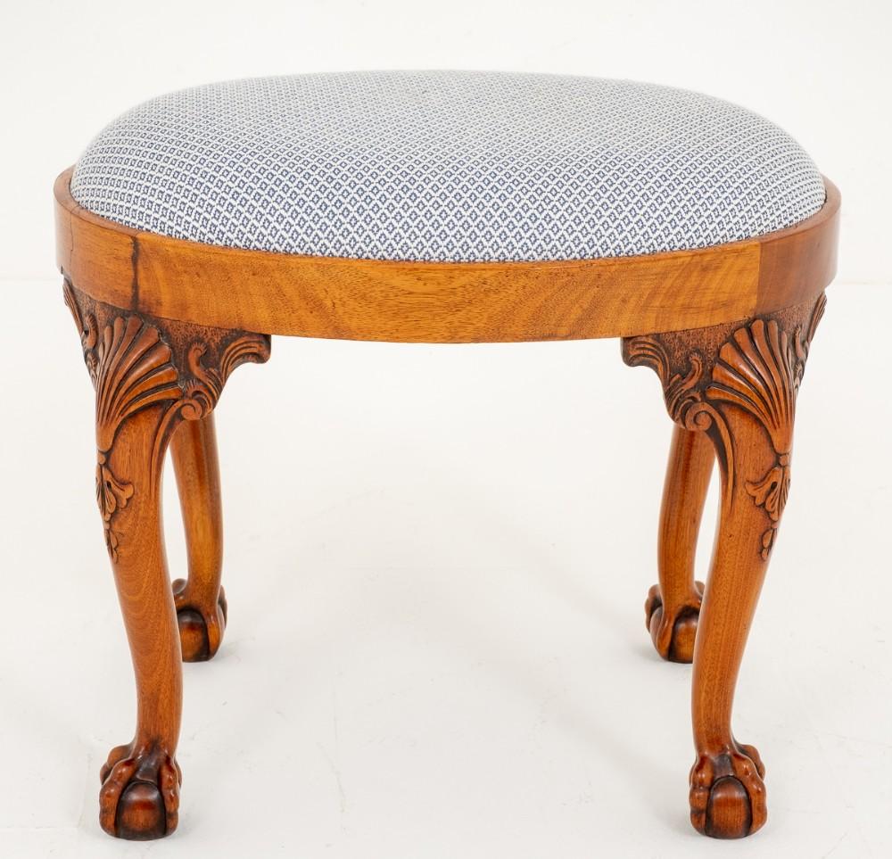 queen anne style walnut oval stool