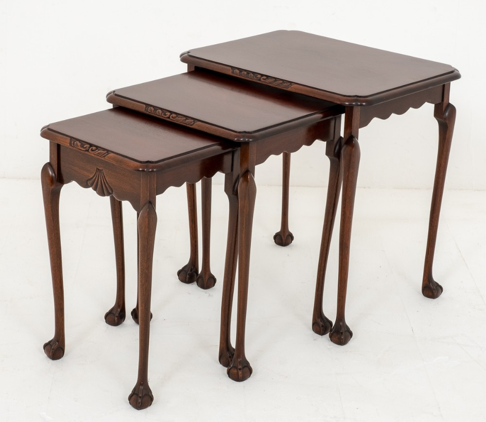 mahogany chippendale style nest of 3 tables