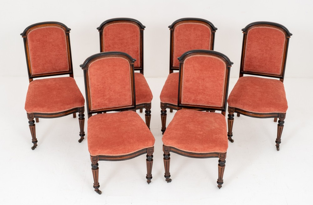 pretty set of 6 victorian walnut and ebony salon chairs