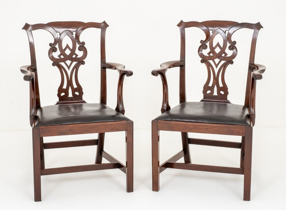 pair of mahogany chippendale style arm chairs