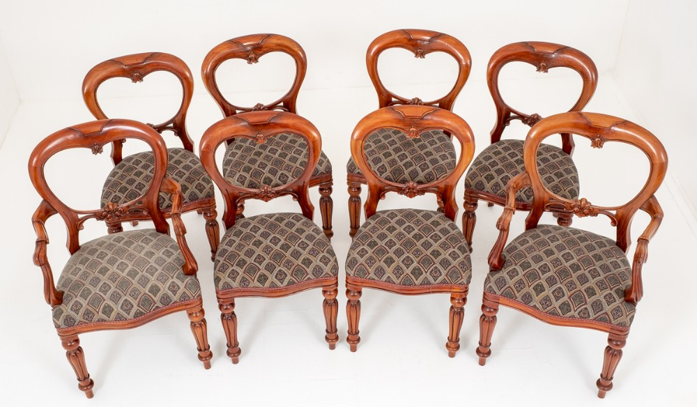set of 8 mahogany victorian style balloon back dining chairs