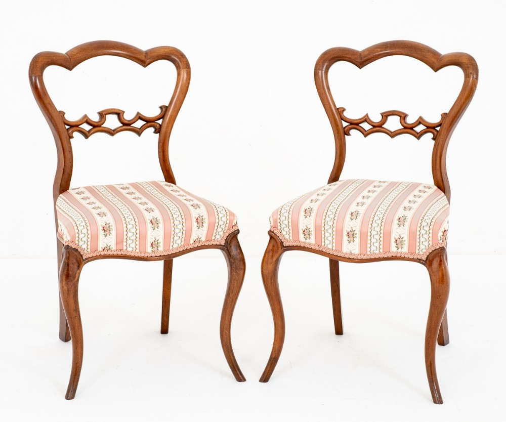 pretty pair of victorian mahogany side chairs