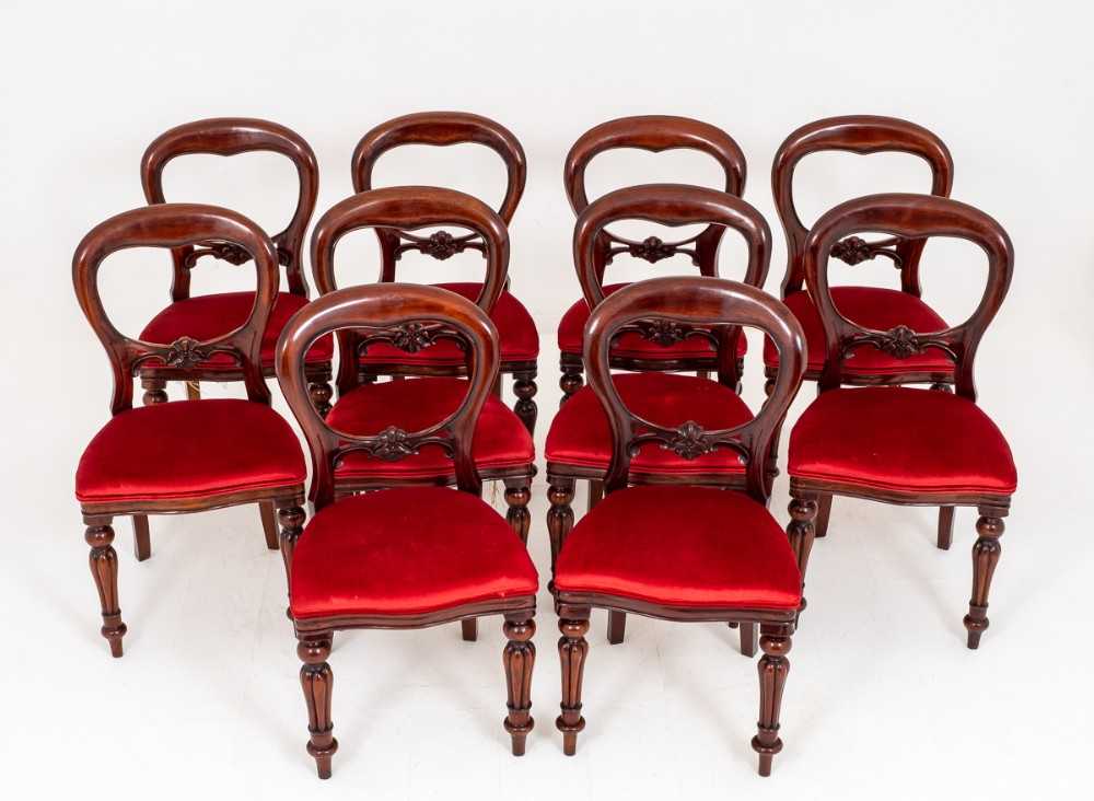 set of 10 mahogany victorian style dining chairs